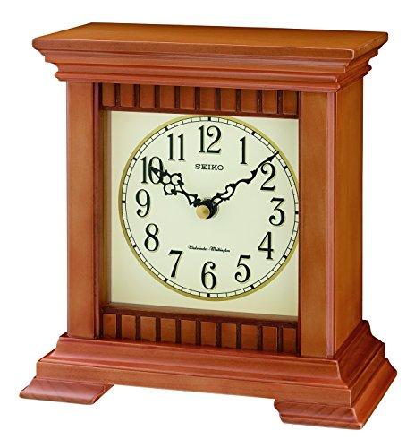 Seiko al quarzo/batteria mantello/orologio da tavolo in legno con Westminster quarto ora suoneria e controllo del volume. QXJ028A