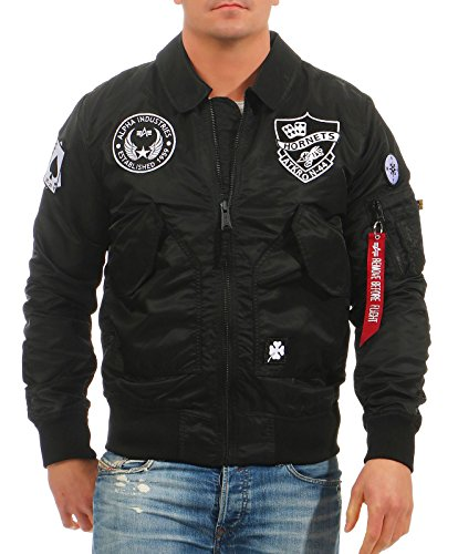 Alpha Industries Herren Bomberjacke CWU VFLW Patch 186109 black (03) XL