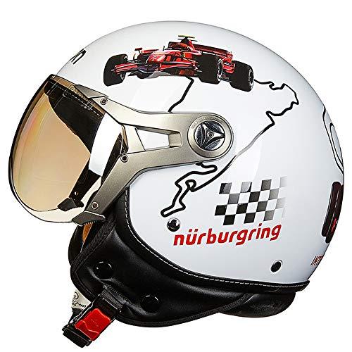 Z&FEI Motorrad Jethelm mit Brille Retro Harley Helm D.O.T Zertifizierter, sicherer und komfortabler Jet Pilot Helm für Herren Damen,G,M(54~56cm)