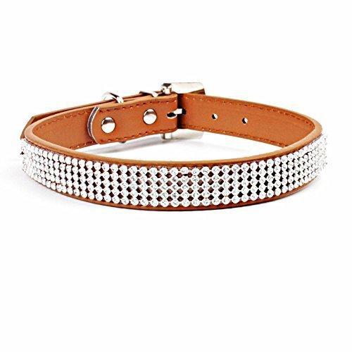 Borte Shop Pet Halsband für Hunde und Katzen PU Leder 3Reihe Fake glänzend mit Kristallen 1,5cm und 2,0cm breit mit D Ring und klassischer Schnalle Schließung (Borte Schnalle)