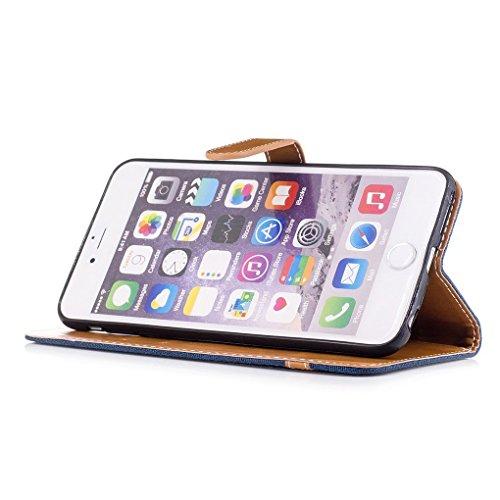König-Shop Handy Hülle Schutz Case Jeans Optik Bookstyle Tasche Etuis, Für Handy:Apple iPhone 6 / 6s (4.7 Zoll), Farbe wählen:Schwarz Blau