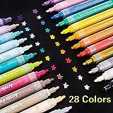 SUPERSUN Marqueur Peinture Acrylique, 28 Couleurs Peintures Acryliques pour Bois, DIY, Dessin, Tissu, Verre, carte de Noël (10 Cartes)