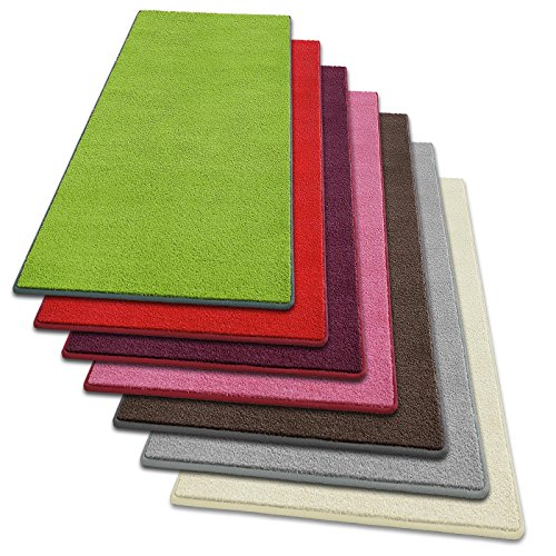 Teppich Läufer Noblesse | flauschig getufteter Flor in modernen Farben | mit GUT-Siegel | Teppichläufer in vielen Farben für Flur, Schlafzimmer, Wohnzimmer etc. | viele Breiten und Längen (100 x 150cm, grün)