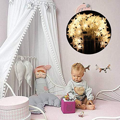 Baldachin Für Kinder Bett, Betthimmel Mit Kleinen Bommeln Baumwolle Hängende Moskitonetz Für Schlafzimmer Dekor, Weiß (Bett Prinzessin Kleinkind Mit Baldachin)