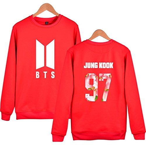 SIMYJOY Lovers BTS Felpe KPOP Pullover BTS Hip Hop Felpa Top per Uomo Donna Adolescente rosso Jung Kook 97