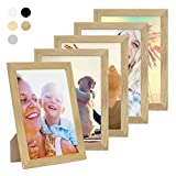 Photolini Juego de 5 Marcos 21x30 cm/DIN A4 Basic Collection, Aspecto Roble, Modernos, Madera Maciza, Incluyendo Accesorios/Collage de Fotos/galería de imágenes