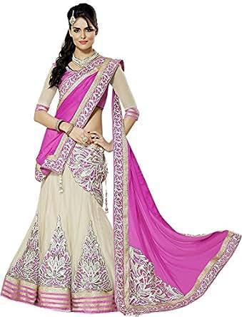 Param Creation Women's White Net Lehenga Chaniya Choli Dupatta PC1133