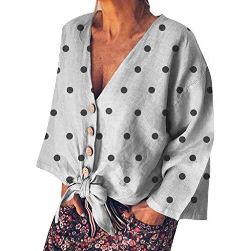 AMUSTER Damen Sommer Bluse Kurzarm T-Shirt Damenmode V-Ausschnitt Print Langarm Polka Dots lose Tops T-Shirt Bluse Chiffon Dot