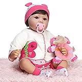 WDTong22 Zoll Silikon Lebensechte Puppe Floral Onesies Mantel Socken Hut Mini Plüsch Elefant Frühen Kindheit Kinder Baby Spielzeug