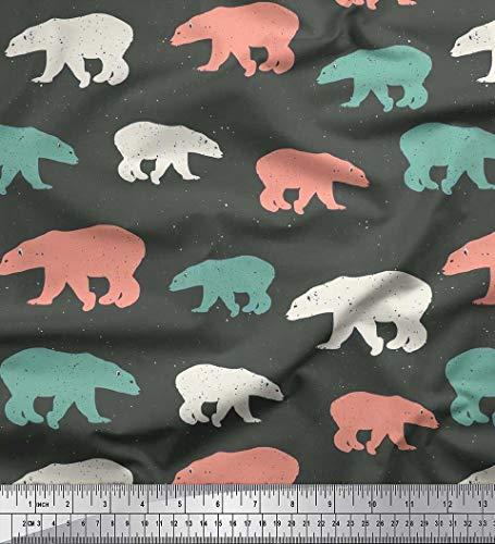 Soimoi Grau schwere Leinwand Stoff bunt Eisbär Tier Stoff drucken 1 Meter 58 Zoll breit -