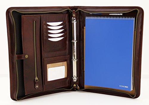 Portfolio, mit Reißverschluss A4Ordner, Padfolio 4Ring Binder, Leder Folio mit Griff braun (4-ring A4 Binder)