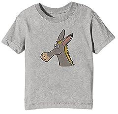 Idea Regalo - Asino Bambini Unisex Ragazzi Ragazze T-Shirt Maglietta Grigio Maniche Corte Dimensioni XL Kids Boys Girls Grey X-Large Size XL