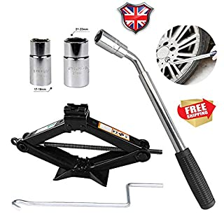 2 Tone Scissor Jack and Wheel Wrench with Speed Handle for Cars/Caravans/Honda Jazz/Audi/BMW/Benz/Ford/Truck - Tyre Repair Tools Kit Lift Jacks 5-Year Guarantee (Wrench + 2Ton Jack)