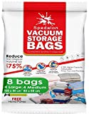 Vacuum Storage Bags – Pack of 8 (4 Large (100x80cm) + 4 Medium (80x60cm)) ReUsable space savers with free Hand Pump for travel packing. Best Sealer Bags for Clothes, Duvets, Bedding, Pillows, Blankets, Curtains