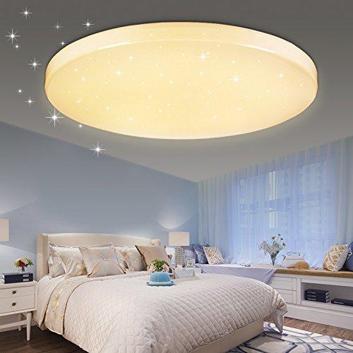 VINGO® 60W LED Deckenlampe LED Deckenstrahler Warmweiß Rund Wohnzimmerlampe Wandleuchte Modern Beleuchtung Sternenhimmel Sternen Himmel IP44 Geeignet für Wohnzimmer Schlafzimmer Energiesparende Möbeleinbauleuchte