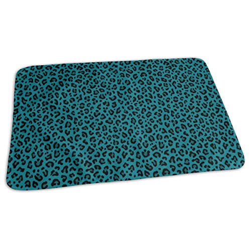 Baby Reusable Diaper Changing Pad - LEOPARD PRINT In TEAL BLUE Small Scale Collection Leopard Spots Punk Rock Animal Print_559 Portable Waterproof Urine Mat ((27.5 x 19.7 Inch), 70 x 50 cm) -