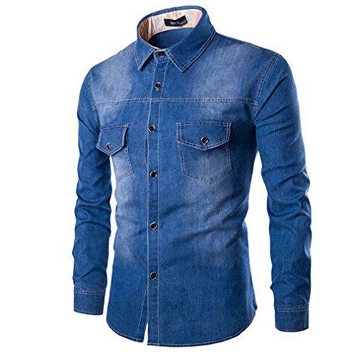 Honghu Homme Casual Slim Fit Jean Manches Longues Chemise Bleu foncé