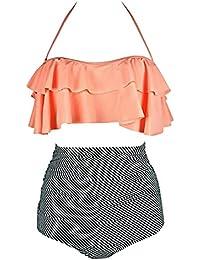 BaiShengGT Femme Vintage Polka Dot Taille Haute Bikini Halter Strap Maillots de Bain 2 Pièces Noir-Pois 3XL