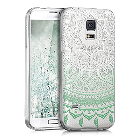 kwmobile Hülle für Samsung Galaxy S5 Mini G800 - TPU Silikon Backcover Case Handy Schutzhülle - Cover klar Indische Sonne Design Mintgrün Weiß