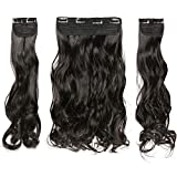 TESS Clip in Extensions wie Echthaar Haarverlängerung Naturschwarz Haarteile 3 Tressen 8 Clips dicke komplette Haarverdichtung Gewellt 20