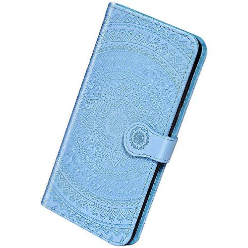 Herbests Kompatibel mit Samsung Galaxy A70 Leder Hülle Schutzhülle Handyhüllen Vintage Sonnenblume Muster Flip Brieftasche Wallet Tasche Ständer Klapphülle Etui Case Magnetverschluss,Blau