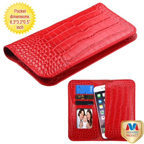 Universal Crocodile-Embossed/Echtleder für Apple ZTE Samsung Geldbeutel/Brieftasche/Fall/Kupplung/Beutel (16x 8,1x 1,3cm),-Rot. Kompatibel mit Die folgenden Modelle: A700 Cell Phone