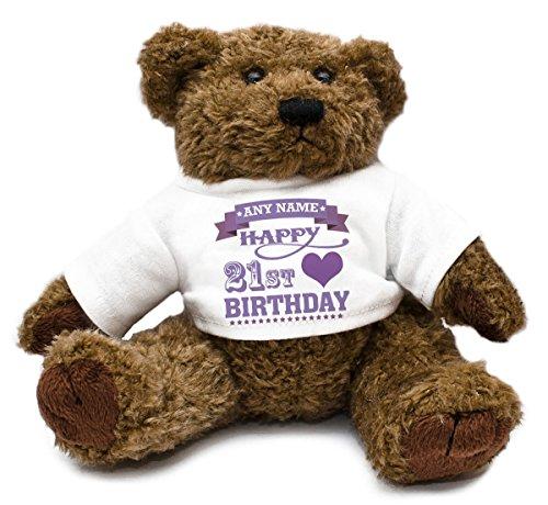 Personalizzato Viola 21st compleanno cuori Orsetto per