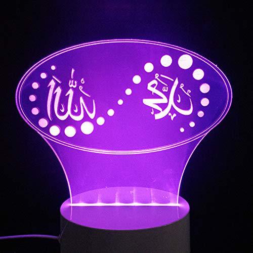 3D Farbe Stimmung Führte Islam Lampe Gott Allah Segnen Koran Arabisch Form Luminaria Tisch Schreibtisch Nachtlicht Usb Schlaf Beleuchtung Urlaub Geschenke