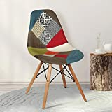 #8: TIED RIBBONS Designer DSW Patchwork Chair for café, Home, Living Room, Bed Room, Office, Side Chair, Accent Chair (Multi, 81 cm X 40 cm)