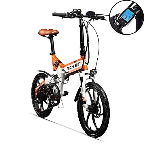 RICH BIT RT730 Bicicleta eléctrica Plegable de 20 Pulgadas, Bicicleta eléctrica batería de Litio de 250 w * 8ah Marco de aleación de Aluminio MTB amortiguadores de Choque completos 7 velocidades de