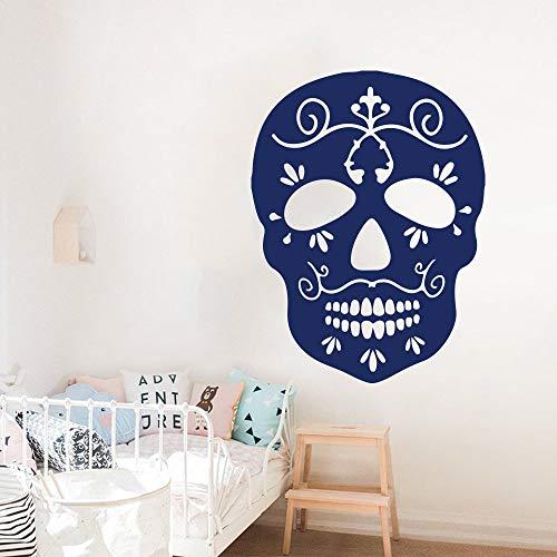 hllhpc Große Schädel Wandaufkleber Fenster Schlafzimmer Halloween Piraten Toten Schädel Wandtattoo Wandtattoo Wohnzimmer Party Vinyl Home Decor 56 * 42 cm
