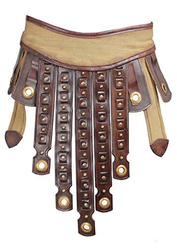 Römischer Ledergürtel 120 cm mit Ledenschutz braun/beige LARP Gürtel Mittelalter Wikinger (Epic Halloween Kostüme Für Männer)