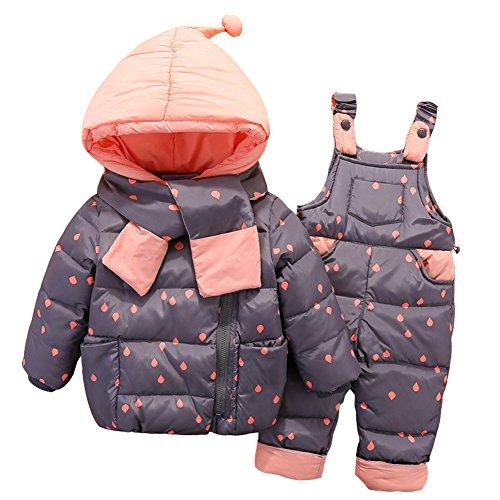 LSERVER-Mädchen Junge Süß Daunenjacke+ Stepphose Winterjacke mit kapuze Down Jacket 2tlg Bekleidungsset verdickte Winterjacke für Junge Mädchen Baby Winter Jacke