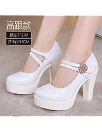 Jqdyl Tacones Boca baja Zapatos Cheongsam Primavera Otoño Grueso con Hebilla con Hembra, Blanco 11 Cm, 40
