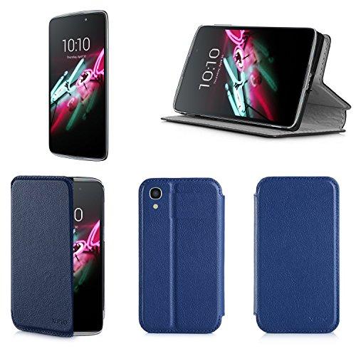 Alcatel Onetouch IDOL 3 4.7 zoll 4G/LTE Dual Sim Tasche Leder Hülle blau Cover mit Stand - Zubehör Etui Alcatel Idol 3 4.7 Flip Case Schutzhülle (PU Leder, Handytasche blue) - XEPTIO accessories