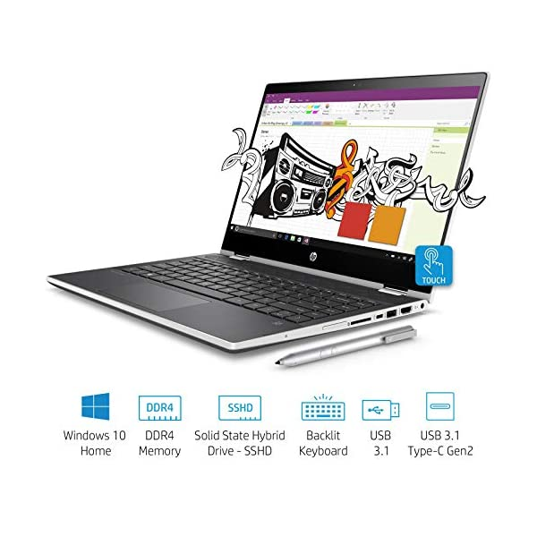 HP Pavilion x360 Intel Core i3 8th Gen 14-inch Touchscreen 2-in-1 FHD Thin  and Light Laptop (4GB/1TB+8GB SSHD/Windows 10 Home/MS Office/Natural