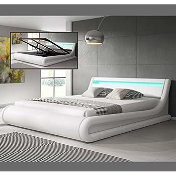 designer boxspring bett paris mit bettkasten led beleuchtung 180x200 cm farbe weiss mit. Black Bedroom Furniture Sets. Home Design Ideas