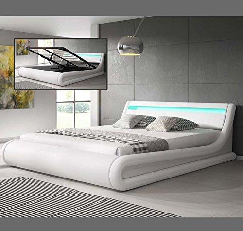 Muebles Bonitos – Luxus Designer LED-Polsterbett mit Bettkasten Weiß 180x200