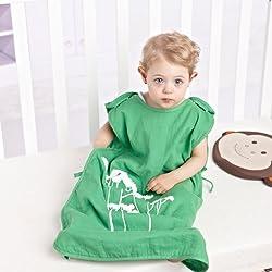 Sacos de dormir para bebé recién nacido muselina algodón Bolsa del Sueño para niños ninas suave respirable verano 0 6 12 18 24 meses 80 cm verde