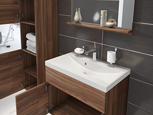 Bathroom Cabinet Montreal 60cm Basin Storage Cabinet Vanity Unit Sink Furniture Walnut Oak