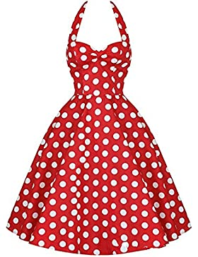 Vintage Polka-Dot vestido de noche colgando cola Big Swing falda