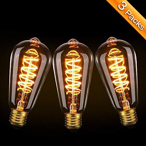 Vintage Edison Glühbirne, Elfeland 3x E27 LED Retro Lampe Soft Spiral Filament Dekorative Glühbirne 3W Ersetzt 25 Watt, 180LM 2200K Dimmbar 85-220V, Modell ST64