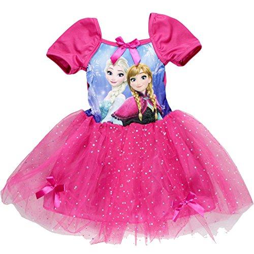 Elsa Frozen Kleider (Frozen Die Eiskönigin Kleid Kurzarm mit Glitzer in verschiedenen Farben & Größen (122 (7 Jahre),)