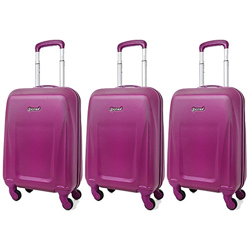 5 Cities Lightweight ABS Hard Shell Carry On Cabin Hand Luggage Suitcase with 4 Wheels, Approved for Ryanair, Easyjet, British Airways, Virgin Atlantic and More, Rose Gold (3 x Purple)