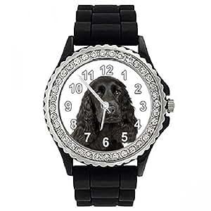 Cocker Spaniel anglais - Strass - Montre Femme - Bracelet Silicone Noir