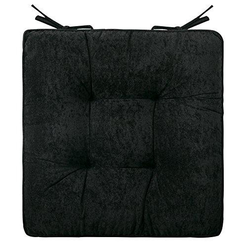 Mkuha 4er Set Stuhlkissen Sitzkissen mit Haltebändern, Cord Sitzauflage für Innen, Gestepptes Design, Quadrat 42x42x8cm,Black