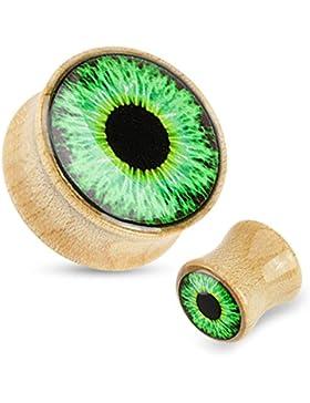Paula & Fritz® Plug mit Sattelverschluss aus Ahornholz Muster Grünes Auge 8-25mm PWZ02