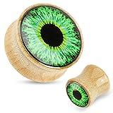Paula & Fritz Plug mit Sattelverschluss aus Ahornholz Muster Grünes Auge 16mm.