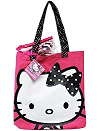 Hello Kitty Black And White Polka Dotted Bow Pink Colored Canvas Beach Tote