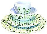 OLPro Bewdley - Vajilla de melamina (16 piezas, tamaño grande), multicolor